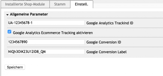 Google Analytics Modul (eCommerce Tracking)